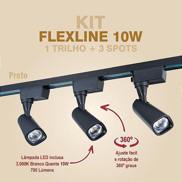 KIT FLEXLINE - 1 TRILHO + 3 SPOTS - 10W - PRETO