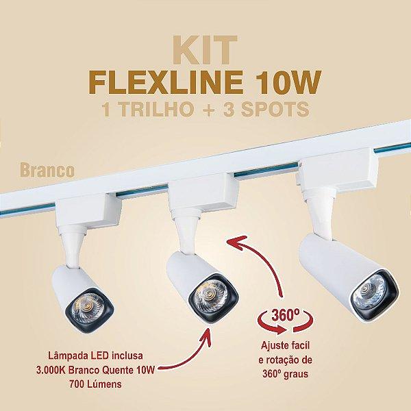 KIT FLEXLINE - 1 TRILHO + 3 SPOTS - 10W - BRANCO