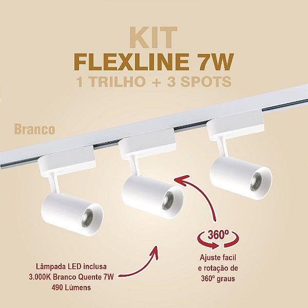 KIT FLEXLINE - 1 TRILHO + 3 SPOTS - 7W - BRANCO