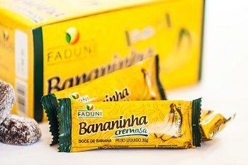Bananinha Cremosa Faduni com açúcar - 24 unidades de 30g - Doce de banana