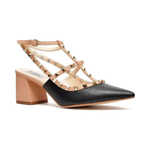 Sapato Feminino Scarpin Diana Salto Médio Nude/Preto