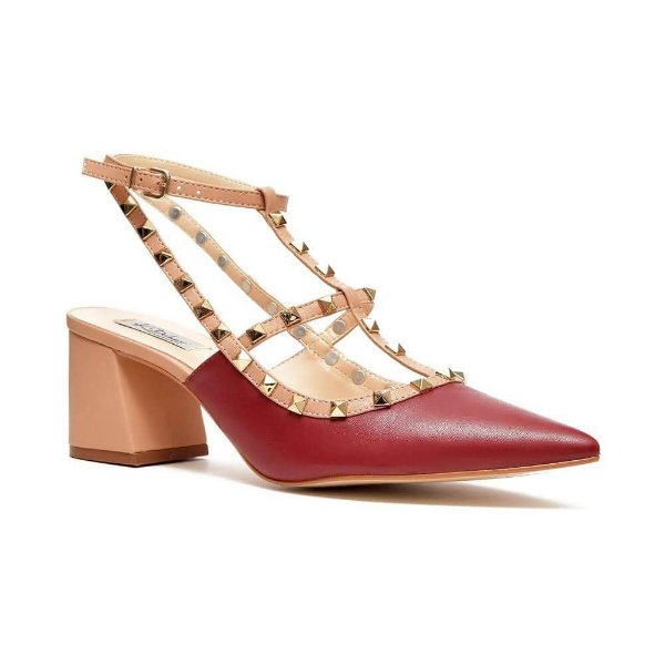 Sapato Feminino Scarpin Diana Salto Médio Nude/Vermelho