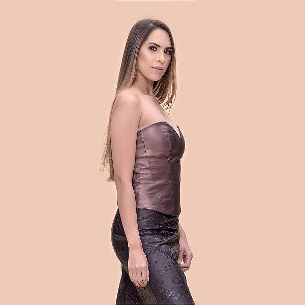 Corpete Couro Pelica Detalhe nas Costas Bronze - Karine Daher
