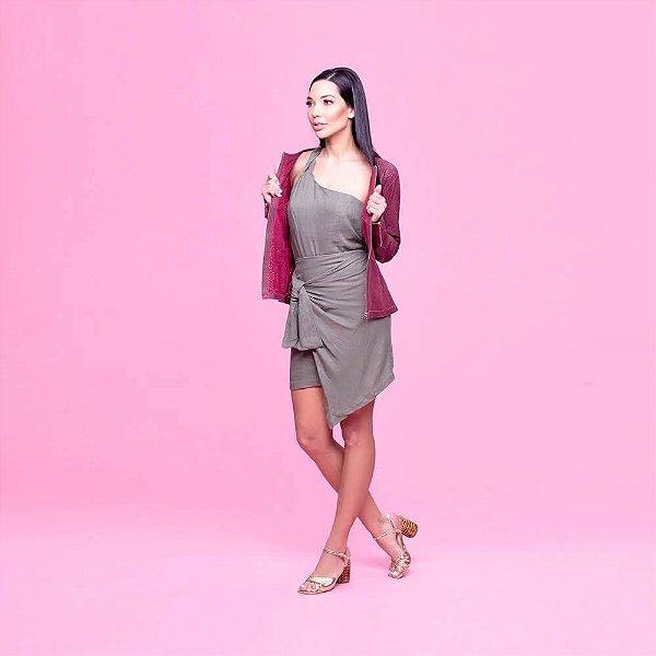 Jaqueta Couro Recortes a laser Marsala - Karine Daher