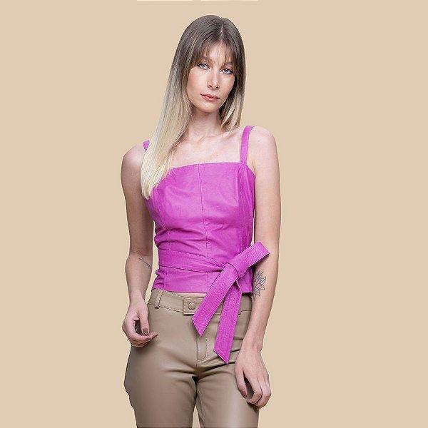 Blusinha Couro Alça regulável Pink - Karine Daher
