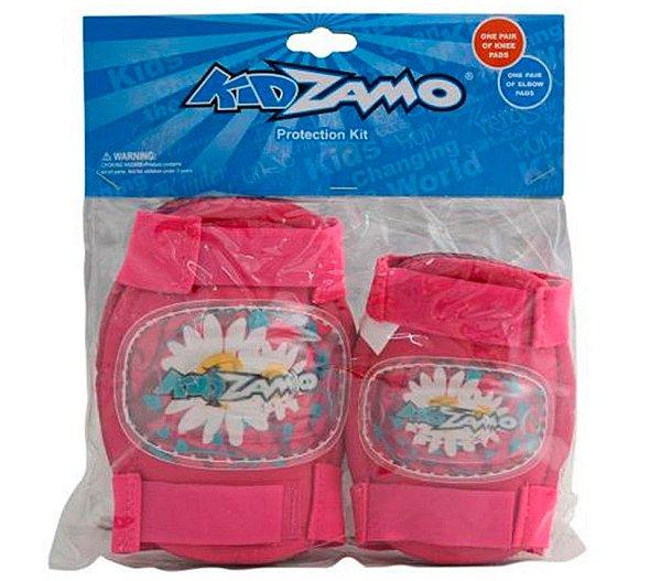 Kit Proteção Infantil Rosa Joelheira e Cotoveleira KidZamo