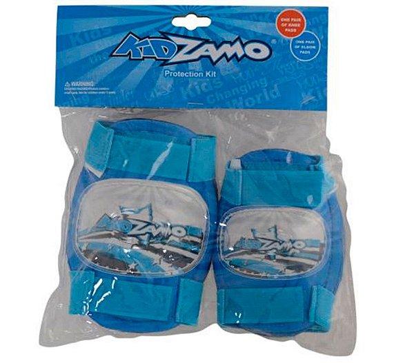 Kit Proteção Infantil Azul Joelheira e Cotoveleira KidZamo