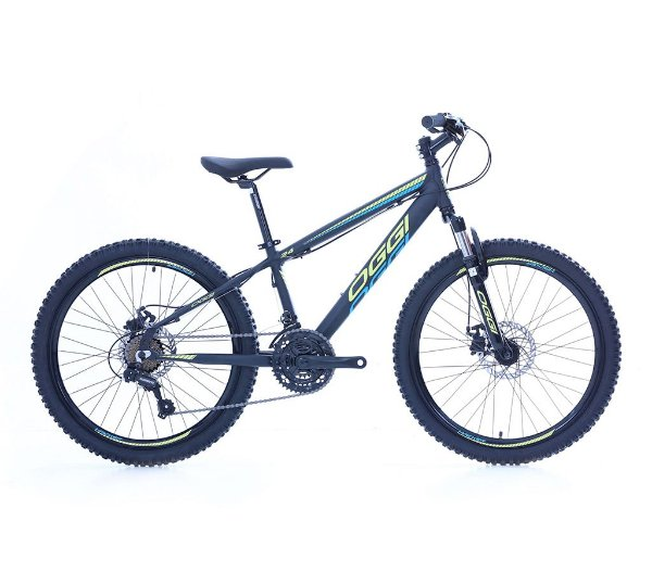 Bicicleta Aro 24 Hacker OGGI Shimano Tourney 21 velocidades 2021 Preto/Amarelo/Azul