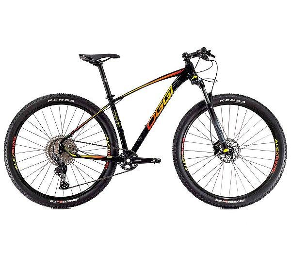 Bicicleta Aro 29 Big Wheel 7.2 OGGI Shimano Deore 11 velocidades 2021 Preto/Amarelo/Vermelho