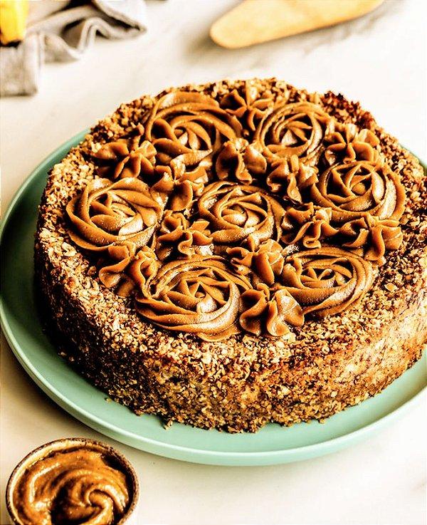 Torta de Banana com Doce de Leite  - vegano, sem glúten, sem lácteos