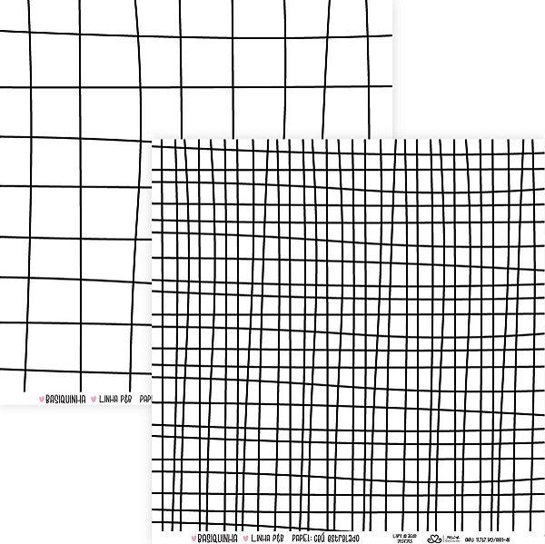 Papel Grid Riscado (Coleção Basiquinha - Linha P&B) - Pacote com 15 unidades