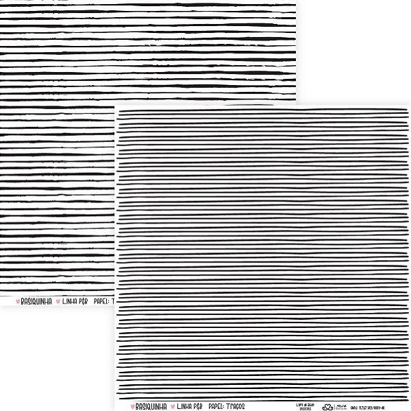 Papel Traços (Coleção Basiquinha - Linha P&B) - Pacote com 15 unidades