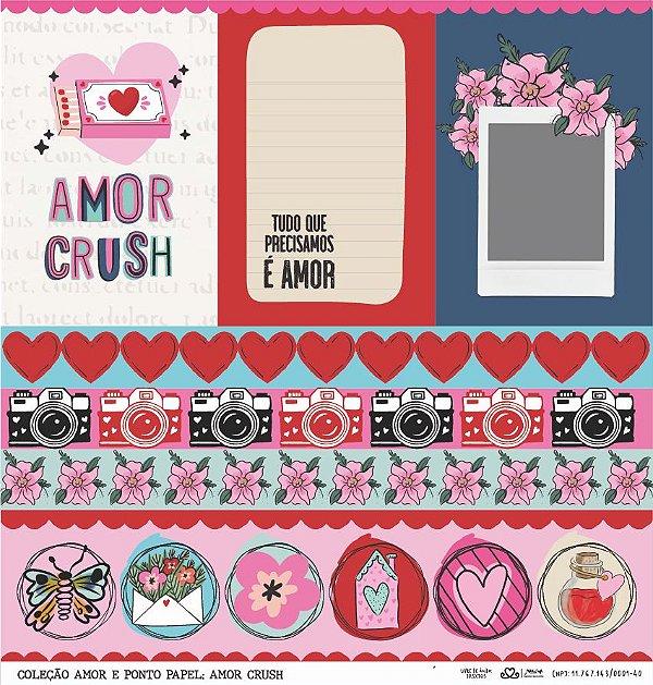 Papel Amor Crush (Amor e Ponto) - Pacote com 15 Unidades