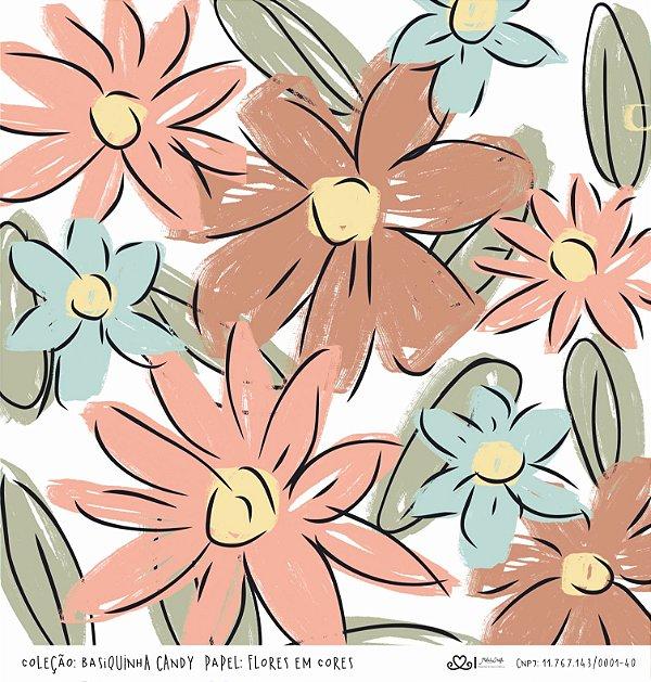 Papel Flores em Cores (Coleção Basiquinha Candy) - Pacote com 15 unidades