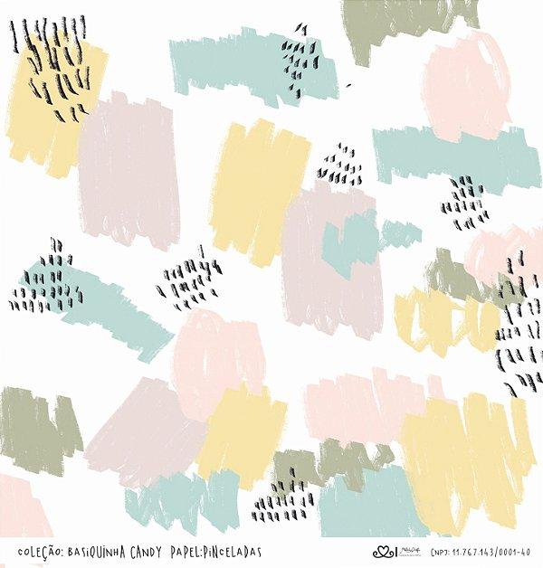 Papel Pinceladas (Coleção Basiquinha Candy) - Pacote com 15 unidades