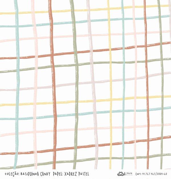 Papel Xadrez Pastel (Coleção Basiquinha Candy) - Pacote com 15 unidades