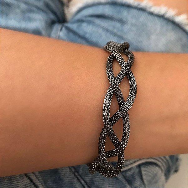 Bracelete ródio negro trançado