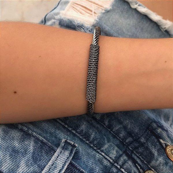 Bracelete corda ródio negro