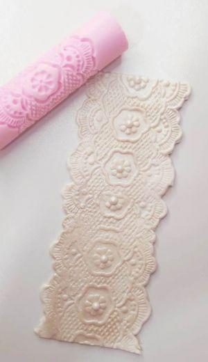 Rolinho Marcador Textura Flores Rendadas 2
