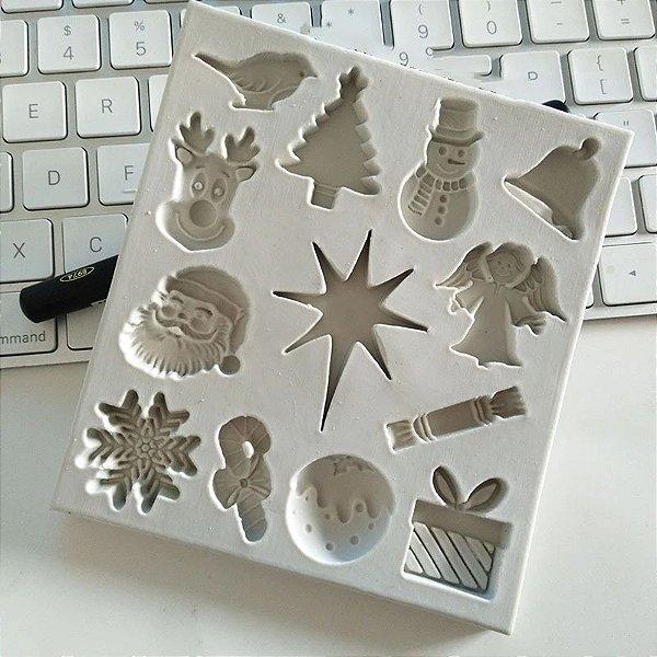 Molde de silicone Tema Natalino (Modelo 2) árvore de natal, anjo, sino, boneco de neve, estrela, papai noel, floco de neve, rena