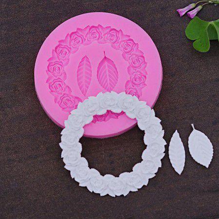 Molde de silicone de Moldura Rosas e Folhas (Modelo 12)