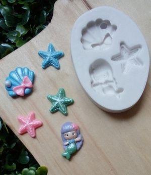 Molde de silicone de Sereia, Concha e Estrela do mar (Modelo 2)
