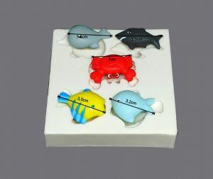 Molde de silicone de Animais Marinhos (Modelo 3) fundo do mar, peixe nemo, caranguejo, tuburão, baleia