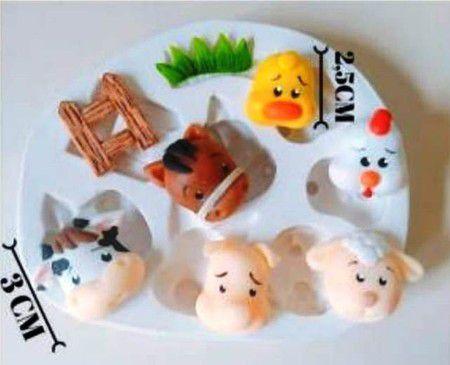 Molde de silicone de Animais da Fazendinha cavalo, vaca, porco, ovelha, pintinho, pato