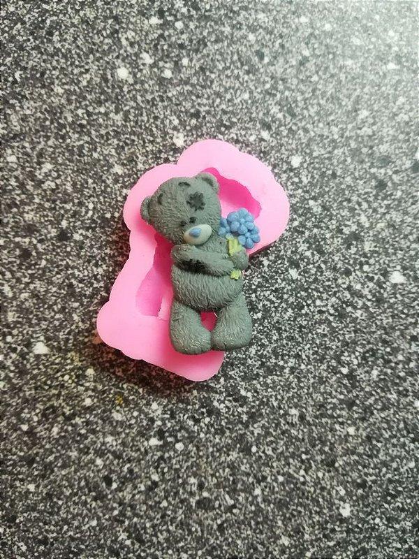 Molde de silicone Urso Com Buquê de Flores