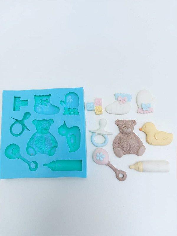 Molde de silicone Tema Chá de Bebê (Modelo 2) urso, pato, luva, mamadeira, chocalho, chupeta, meia e ABC