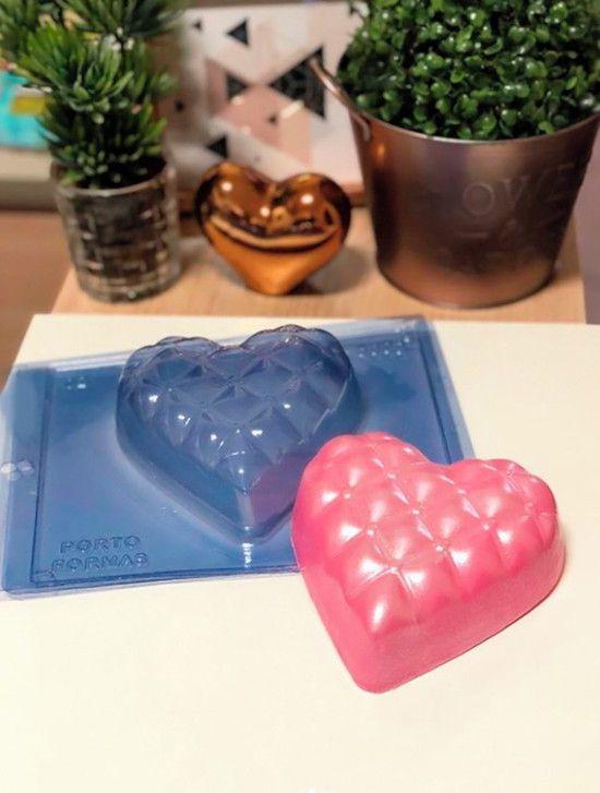 Forma de Silicone (3 partes) - Coração Almofadinha 500g