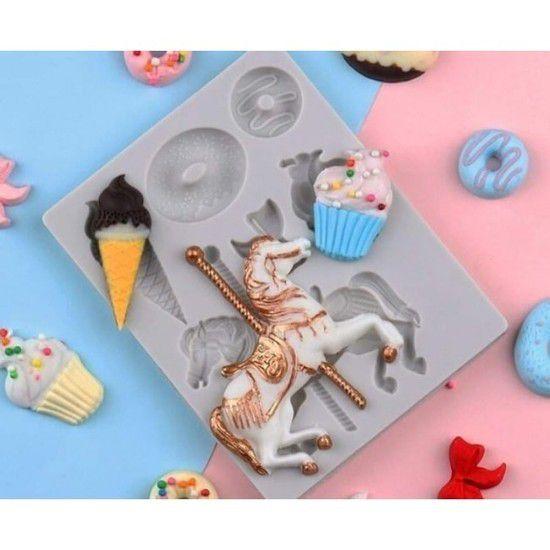 Molde de silicone de Doces (Modelo 3) cavalo / sorvete / biscoito / cupcake