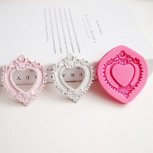 Molde de silicone moldura coração (modelo 9)