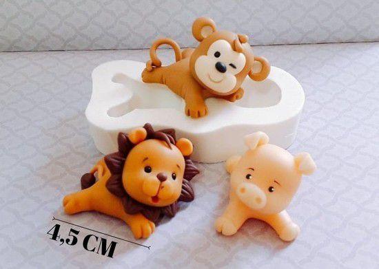 Molde de silicone Mult Pet Deitado macaco, porco, leão, universal