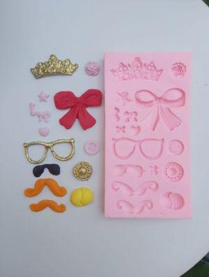 Molde de silicone Diversos- Modelo 5 óculos, laço, coroa, bigode