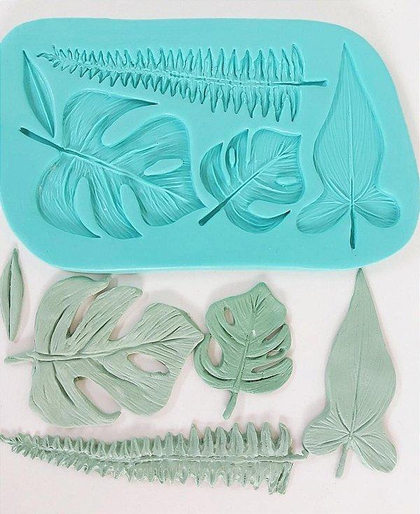 Molde de silicone de Folhas Costela de Adão/ Samambaia
