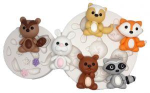 Molde de silicone Animais do Bosque (Modelo 2) guaxinim, raposa, gamba, coelho, urso