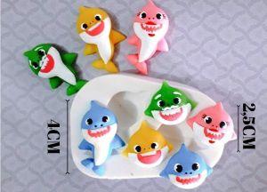 Molde de silicone do Baby Shark em Pé