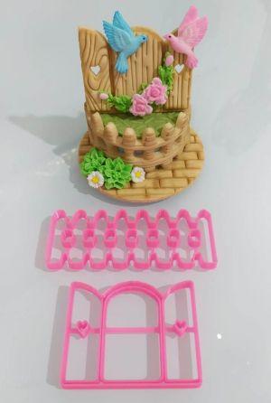 Cortador 3D  Cerca e janela tema jardim
