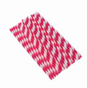 Canudos de Papel Listras Rosa Pink