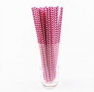 Canudos de Papel Chevron Rosa Pink