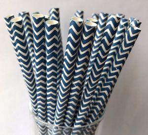 Canudos de Papel Chevron Azul Marinho