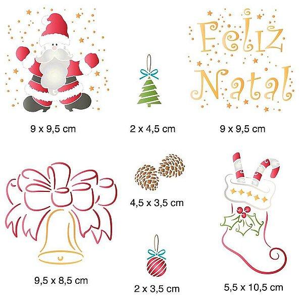 STENCIL NATAL 20X20 - FELIZ NATAL E DESENHOS