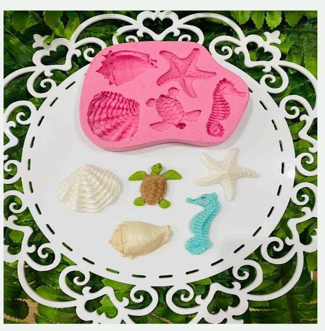 Molde de silicone fundo do mar concha, tartaruga, cavalo marinho e estrela do mar