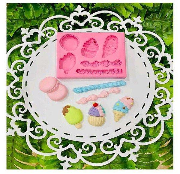 Molde de silicone Doces Macarrons / Cupcake / rodapé / Picolé / Sorvete