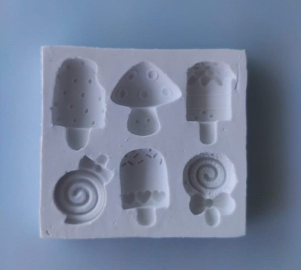 Molde silicone Doces Picolé Pirulito Cogumelo Confeitaria