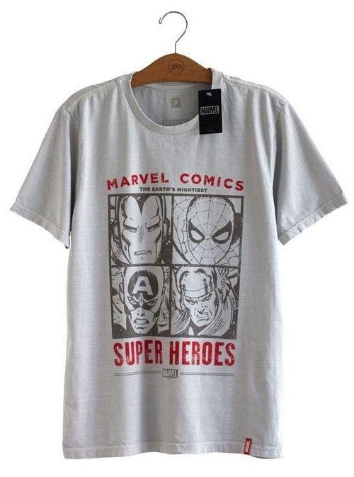 Camiseta Marvel Comics Rostos