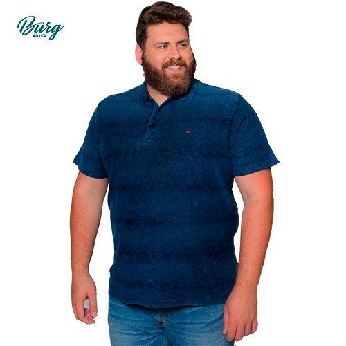 Camisa Polo Retilínea Manga CurtaPlus Size.