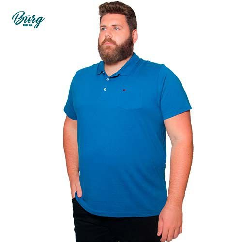 Camisa Polo Retilínea Manga Curta com bolso Plus Size.