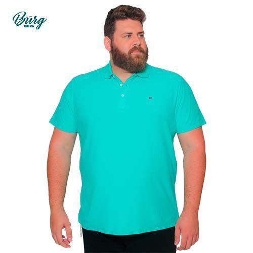 Camisa Polo Retilínea Manga Curta Plus Size.